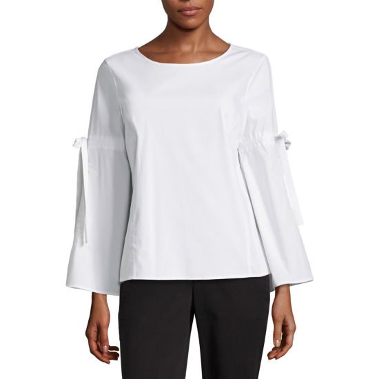 Liz Claiborne Embroidered Tie Sleeve Shirt