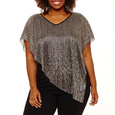 Alyx Short Sleeve V Neck Knit Blouse-Plus