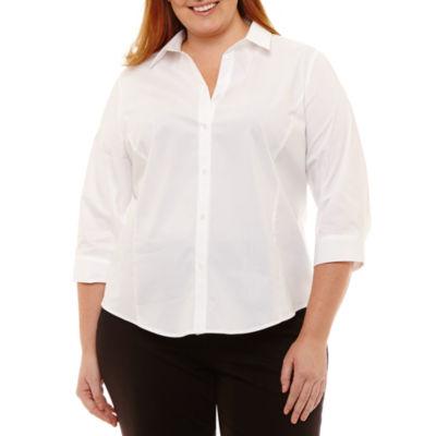 Liz Claiborne 3/4 Sleeve Button Front Shirt- Plus