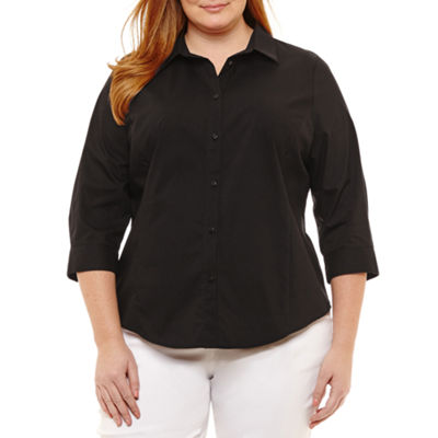 Liz Claiborne 3/4 Sleeve Button Front Shirt- Plus