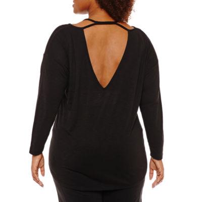 Xersion Long Sleeve V Neck T-Shirt-Womens Plus