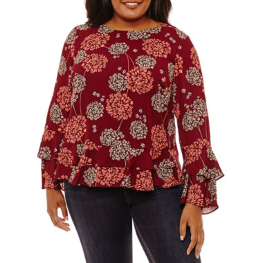 a.n.a Long Sleeve Scoop Neck Woven Blouse-Plus