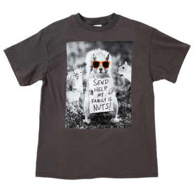 """Send Help. My Family Is Nuts!"" Little & Big Boys Crew Neck Short Sleeve Graphic T-Shirt"