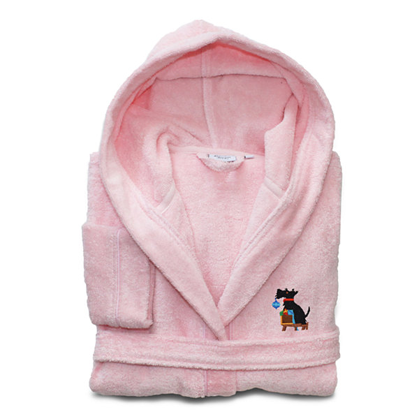 Linum Home Embroidered Linum Kids 100% Turkish Cotton HoodedTerry Bathrobe - Christmas Dog