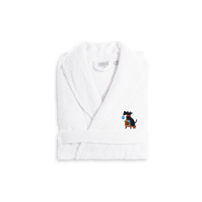 Linum Home Embroidered Luxury 100% Turkish CottonTerry Bathrobe - Christmas Dog