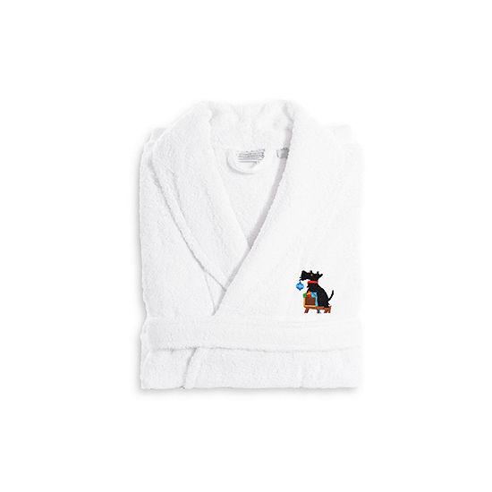 Linum Home Embroidered Luxury 100% Turkish CottonTerry Bathrobe - Christmas Dog