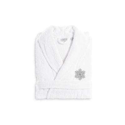 Linum Home Embroidered Luxury 100% Turkish CottonTerry Bathrobe - Grey Snow Flake