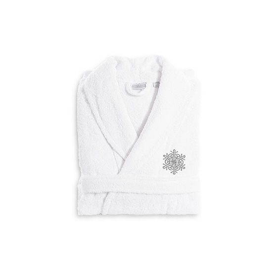 Linum Home Embroidered Luxury 100 Turkish Cottonterry Bathrobe Grey Snow Flake
