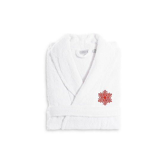 Linum Home Embroidered Luxury 100% Turkish CottonTerry Bathrobe - Red Snow Flake