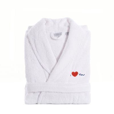 Linum Home I Love You Embroidered White Terry Bathrobe - Navy