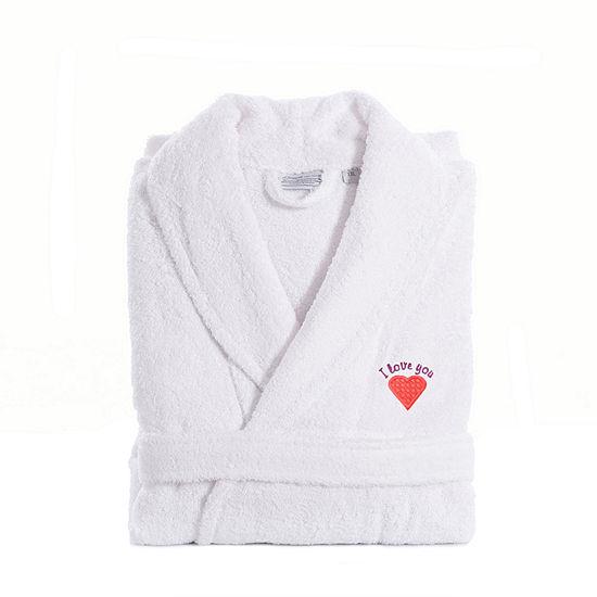Linum Home I Love You Embroidered White Terry Bathrobe - PinkHeart