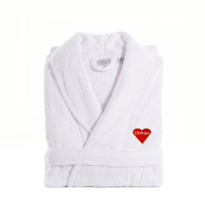 Linum Home I Love You Embroidered White Terry Bathrobe - RedHeart