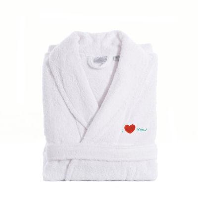 Linum Home I Love You Embroidered White Terry Bathrobe - Aqua