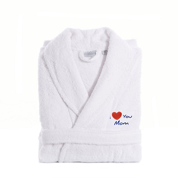 Linum Home I Love You Mom Embroidered White TerryBathrobe -Red Heart
