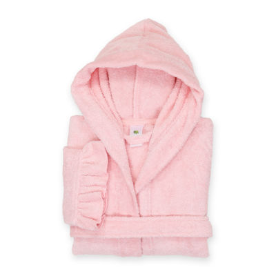 Linum  Kids 100% Turkish Cotton Hooded Terry Bathrobe With Ruffle