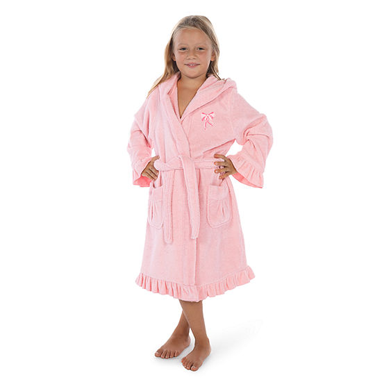 Linum  Kids 100% Turkish Cotton Hooded Terry Bathrobe With Ruffle - Bow Design