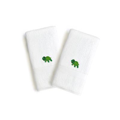 Linum Kids 100% Turkish Cotton Terry 2 Hand Towels-Turtle