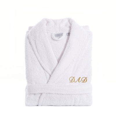 Linum Home White Terry Bathrobe For Dad With Embroidery