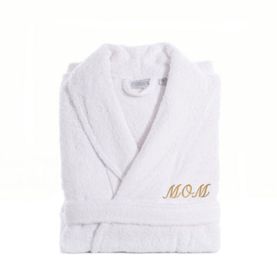 Linum Home White Terry Bathrobe For Mom With Embroidery