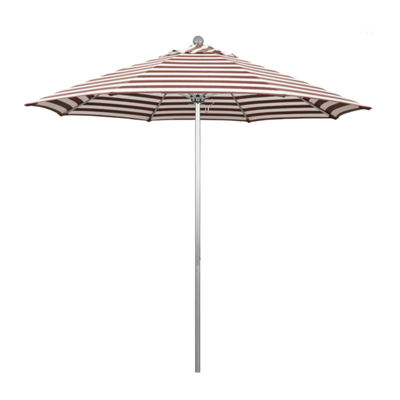 California Umbrella 9' Venture Series Stripe Olefin Patio Umbrella With Silver Anodized Aluminum Pole Fiberglass Ribs Pully Lift