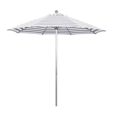 California Umbrella 9' Venture Series Stripe Olefin Patio Umbrella With Silver Anodized Aluminum Pole Fiberglass Ribs Pully Lift