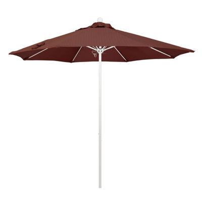 California Umbrella 9' Venture Series Olefin Patio Umbrella With Matted White Aluminum Pole Fiberglass Ribs Push Lift