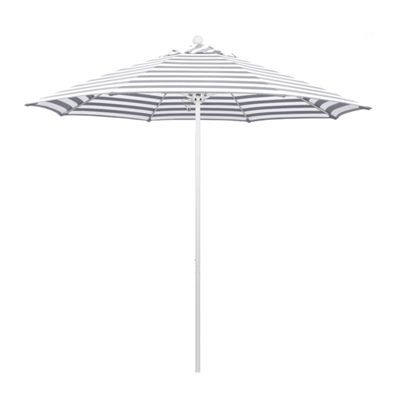 California Umbrella 9' Venture Series Stripe Olefin Patio Umbrella With Matted White Aluminum Pole Fiberglass Ribs Pully Lift