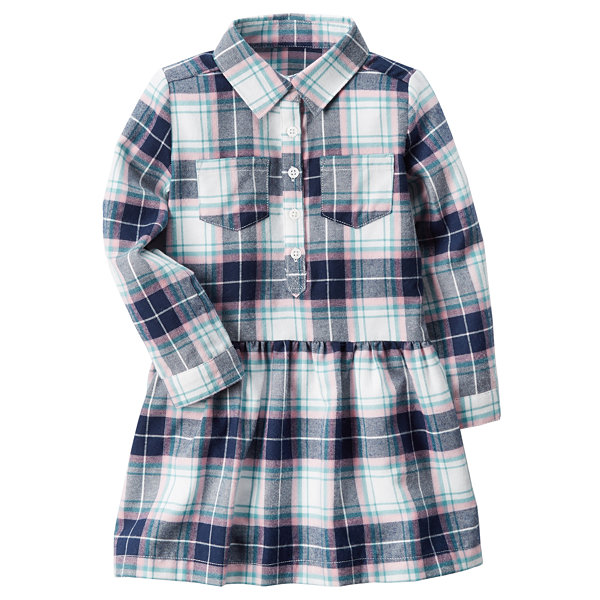 Carter's Long Sleeve Plaid A-Line Dress - Preschool Girls