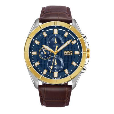 Esq Mens Brown Strap Watch-37esq013401a