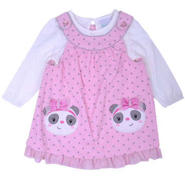 Nanette Baby Long Sleeve Pattern A-Line Dress - Baby Girls