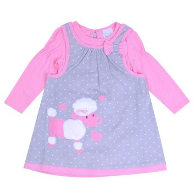 Nanette Long Sleeve Gray Corduroy Dress - Baby Girls