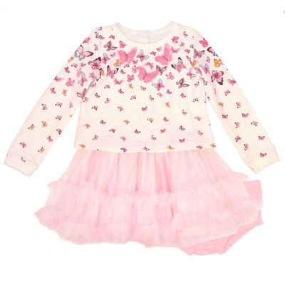 Nanette Baby Knit Pink Butterfly Dress -Baby Girls