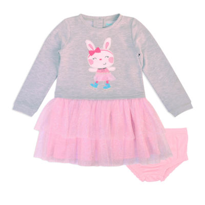 Nanette Baby Long Sleeve Bunny Gray Pink Tutu Dress-Baby Girls