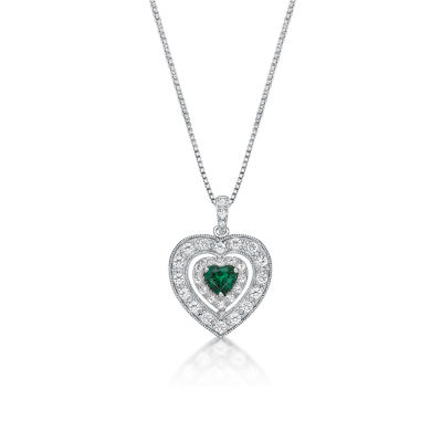 Womens Lab Created Green Emerald Sterling Silver Heart Pendant Necklace