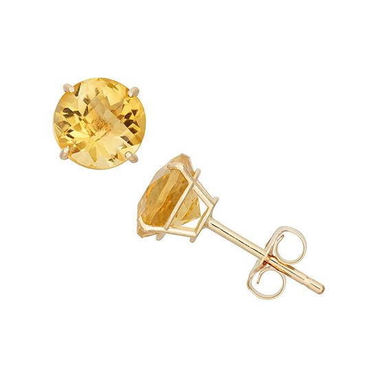 Genuine Yellow Citrine 10K Gold 6mm Stud Earrings