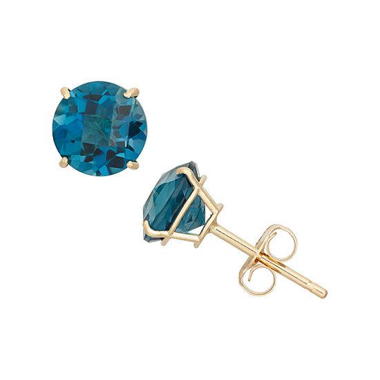 Genuine Blue Topaz 10K Gold 6mm Stud Earrings