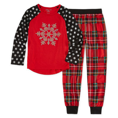 Holiday Snowflake 2pc Pant Pajama Set - Girls