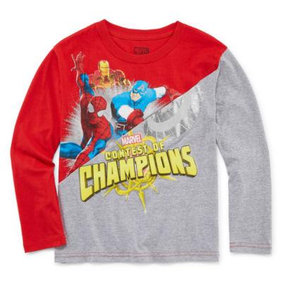 Long Sleeve Crew Neck Marvel T-Shirt-Preschool Boys
