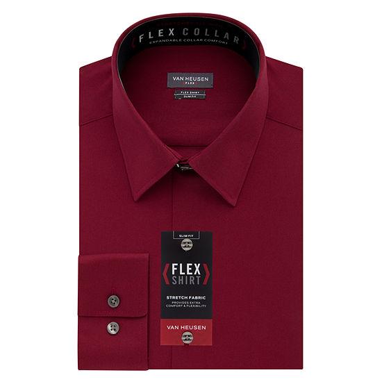 Van Heusen Mens Point Collar Long Sleeve Dress Shirt - Slim