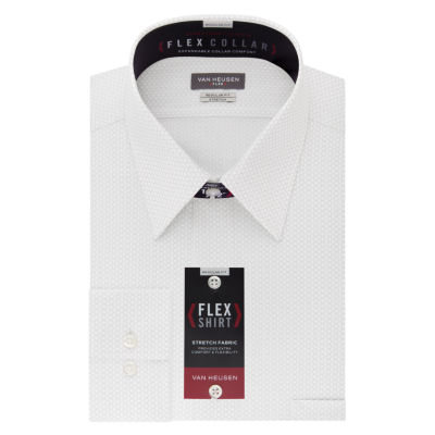 Van Heusen Wrinkle-Free Flex Collar Long Sleeve Twill Grid Dress Shirt