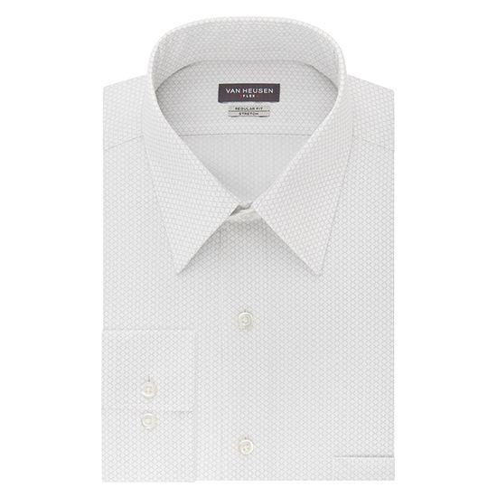 Van Heusen Wrinkle-Free Flex Collar Mens Point Collar Long Sleeve Stretch Dress Shirt