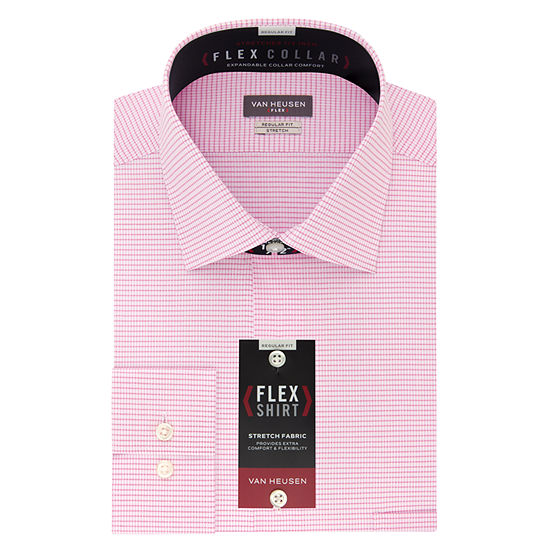 Van Heusen Wrinkle-Free Flex Collar Mens Spread Collar Long Sleeve Stretch Dress Shirt