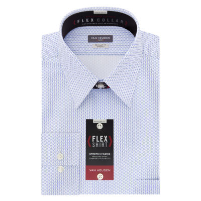 Van Heusen Wrinkle-Free Flex Collar Long Sleeve Twill Pattern Dress Shirt