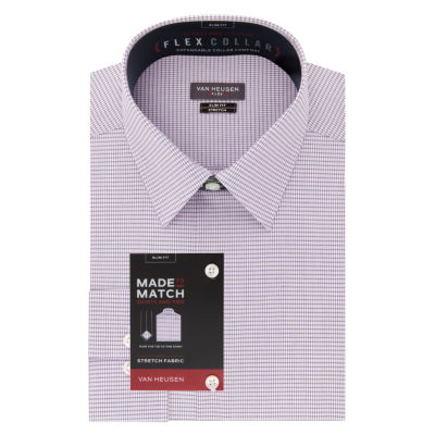 Van Heusen Wrinkle-Free Flex Collar Stretch Mens Point Collar Long Sleeve Wrinkle Free Stretch Dress Shirt - Slim