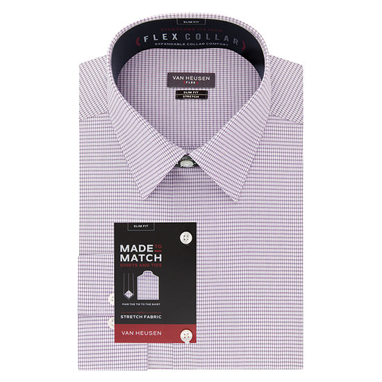 Van Heusen - Slim Wrinkle-Free Flex Collar Stretch Mens Point Collar Long Sleeve Wrinkle Free Stretch Dress Shirt