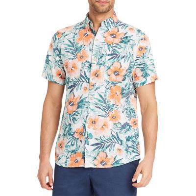 IZOD Dockside Chambray Short Sleeve Button-Front Shirt
