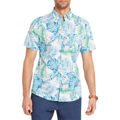 IZOD Dockside Chambray Short Sleeve Pattern Button-Front Shirt