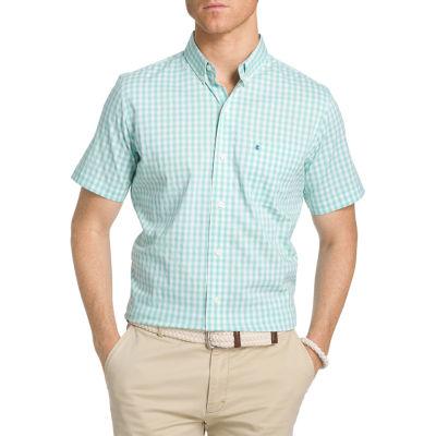 IZOD® Short Sleeve Plaid Button-Front Shirt