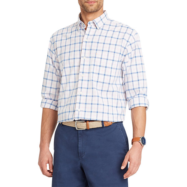 IZOD Newport Oxford Long Sleeve Plaid Button-Front Shirt