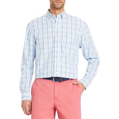 IZOD Glen Plaid Long Sleeve Plaid Button-Front Shirt